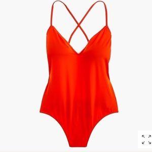 NWY JCrew Red one piece swimsuit M